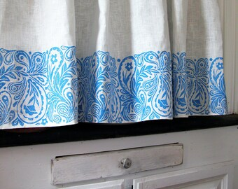 French Country Paisley white linen hand block printed cafe curtain 57 x 27 inch home decor one panel