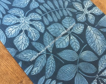Table Runner Cotton Fabric Leaves Print
