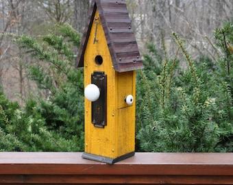 """Yellow rustic Birdhouse ~ """"The Loft"""" - Unique Birdhouse - Wooden Birdhouse - Outdoor Birdhouse - Vintage Birdhouse - Painted Birdhouse"""