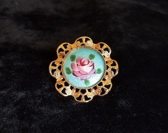 Vintage Pink Rose Enamel Guilloche Gold Filigree Brooch