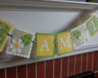Daisy Banner, I am 1 Banner, Highchair Banner, I am 1, Daisy Theme, Daisy Birthday Party