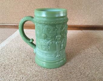 Jadeite Green Milk Glass Beer Stein Mug German Scenes #8 MCM Mic Century