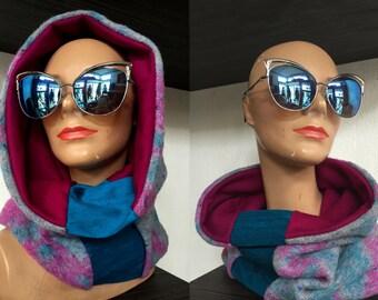 Reversible Neckwarmer, Italian Wool, Silk, Hood, Scarf, Scoodie, Infinity Scarf