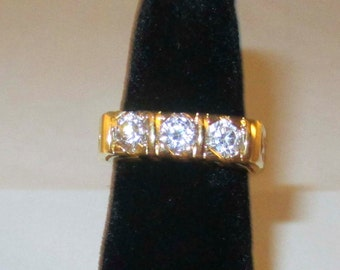Gold Ring with Large Diamond like Stones SIze 7