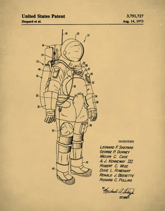 Patent Print Patent Poster NASA Space Suit Outer Space