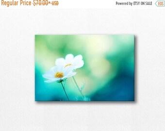 ON SALE photography canvas print canvas nursery art 12x12 24x36 floral wall art photography canvas art large canvas wall decor cosmos teal b