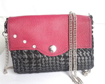 Tweed and leather bag