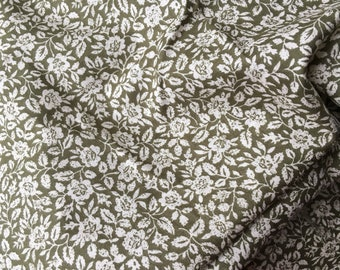 Vintage Laura Ashley 1980s Dress Fabric - Olive Green