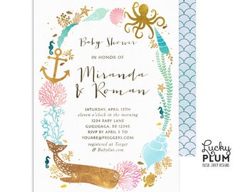 Nautical Baby Shower Invitation / Gender Reveal Baby Shower Invitation / Ocean Whale Couples Coed / Nautical Under the Sea Twins WH03