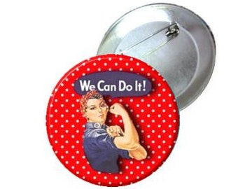 """1"""" 1.25"""" 2.25"""" Pinback Button - Red Polka Dot Rosie the Riveter"""