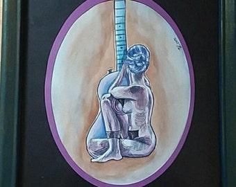 Guitar woman original watercolor