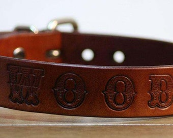 Leather Dog Collar with Font- Handcrafted Leather Dog Collars-  100%  Real Leather -Personalized Pets Name Stamped On - Good value