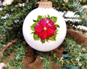 Classic Christmas, Christmas Gift for Grandma, Flower Ornament, Hand Painted Poinsettia, Ornament Gift, Christmas Ornament