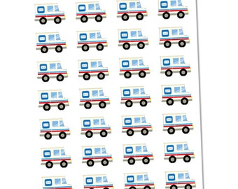Post Office Mailer Truck Planner Stickers, Functional Stickers, Mail Stickers, Shipping Stickers, Post Office Stickers