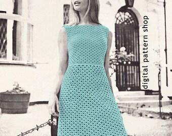 Womens Crochet Dress Pattern Lace Dress Crochet Pattern Sleeveless Dress PDF Instant Download Size 12 14 16 - C20