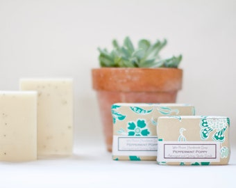 Bar Soap Poppymint exfoliating natural Peppermint Eucalyptus Bergamot essential oil soap bath and beauty spa and relaxation gift ideas her