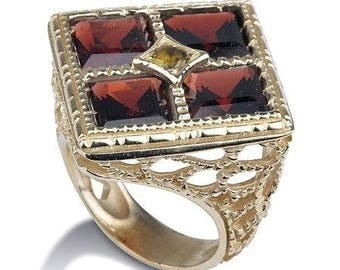 Gold Ring, 14k Solid Gold Ring, 585 Gold Square Ring, Square Garnet Stons, Gold Boho Ring, Unique Solid Gold Ring, Lace Ring, Filigree Ring
