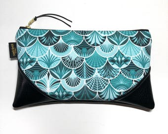 Large Deco Mermaid Scales x Black Zipper Pouch / Clutch in Turquoise with inside lining and Zipper Pull or Leather Wristlet Strap
