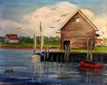 "Set of 4 Cape Cod Oil Paintings 4"" x 5"""