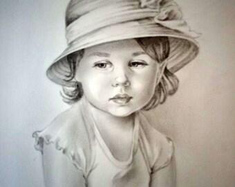 Custom portrait, personalized portrait, child portrait, custom portrait , pencil drawing , dry brush oil technique , child portrait on Photo