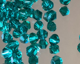 Blue Crystal Beads - 4mm Beads -  Crystal Bicone Beads - Teal Blue Beads - Austrian Crystal Spacer Beads - Packages of 24 & 48 Beads (#323)