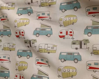 Camper Fabric by the Yard, Caravan Fabric, Beige Canvas, Light Blue, Mustard Yellow, Rouge, DIY Bench Cushion, Upholstery, Curtains, Pillows