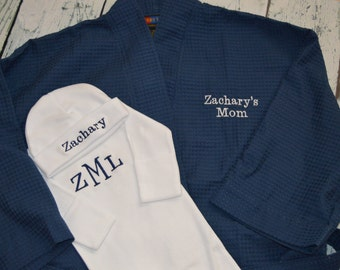 Personalized Hospital Robe and infant gown  Mother Child Gift Set Coming Home Outfit