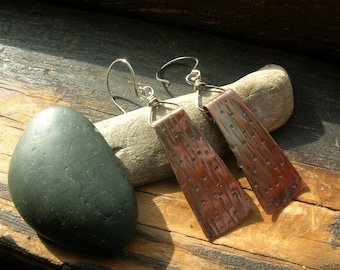 Trapeze textured copper and sterling silver earrings