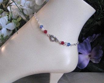 Fourth of July Anklet-Patriotic Anklet-Red White and Blue Anklet-Fourth of July Jewelry-Red White and Blue Jewelry-Silver Anklet
