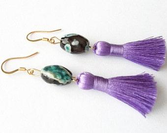 Lovely Lavender Tassel Earrings