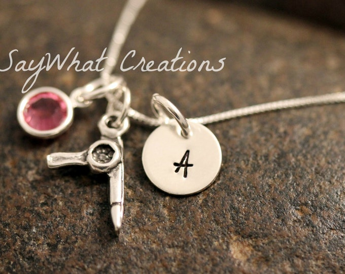 Sterling Silver Mini Initial Charm Necklace with Hairdryer Hairstylist Charm and birthstone