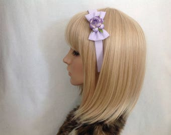 Lilac purple rose headband hair bow rockabilly psychobilly gothic Lolita cute pin up girl vintage shabby chic flower pretty floral