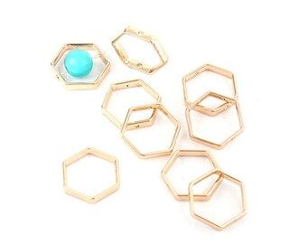 10 Pearl frames Hexagon 21mm colour gold gilt