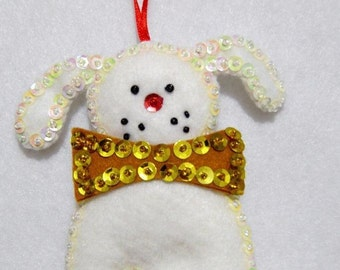 """Hand crafted 4 1/2"""" jeweled white puppy dog with gold bow Christmas ornament"""