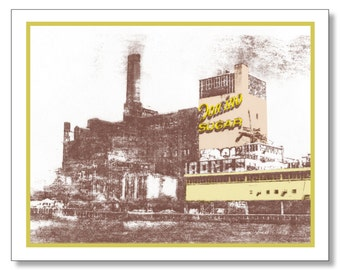 WILLIAMSBURG Brooklyn DOMINO SUGAR Factory Note Card. Vintage Design. Blank Inside. New York City. Brooklyn Stationery - Handmade.