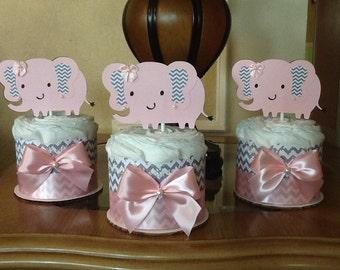 Baby girl diaper cake/Girl diaper cake set/Elephant diaper cake/ Elephant baby shower centerpieces/ gift Pink and grey diaper cake