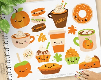 Pumpkin Spice Clipart, Fall, Autumn, Latte, cappuccino, pumpkin pie, candy apple, cupcakes  - Commercial Use, Vector clip art, SVG Files