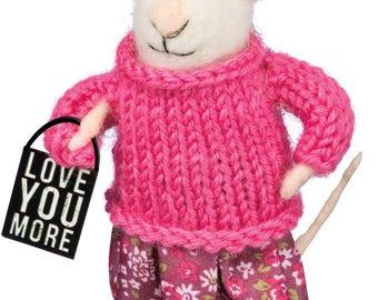 PBK Valentines Decor - Love You More Mouse Ornament