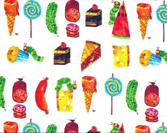 The very hungry caterpillar fabric - Childrens fabric - 100% Cotton fabric - Eric carle fabric - Quilting fabric - Fabric UK