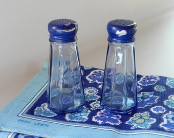 Gemco Blue Glass Diner Salt and Pepper Shakers. Blue Metal Lids or Caps.