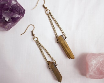 Gold Quartz Earrings with Chain