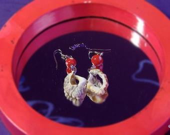 Handmade Jewelry Red Seashell Earrings