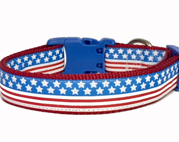 Featured listing image: July 4th - Flag - Memorial Day - Stars and Stripes Dog Collar - American - USA - Puppy - dog gift - holiday -