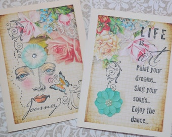 DANCE OF LIFE CaRD SeT art therapy journal ephemera collage inspirational hope recovery survivors journey