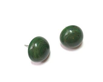 Dark Green Stud Earrings | Marbled Green Studs | vintage lucite Retro Button Stud post earrings
