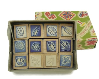 Vegetable Rubber Stamp Wood Print Block Set.