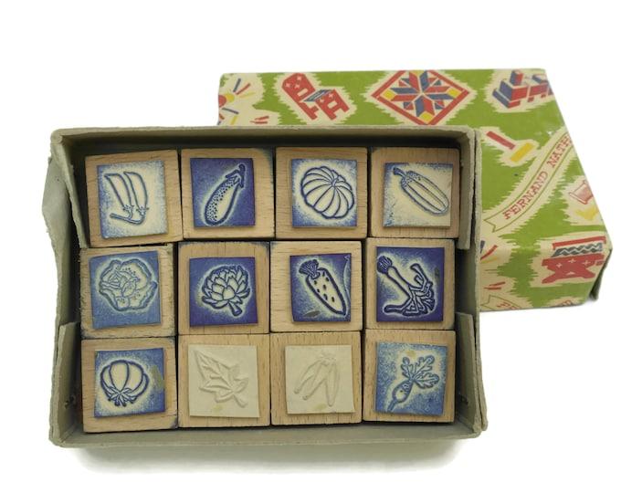 Vegetable Rubber Stamp Wood Print Block Set.