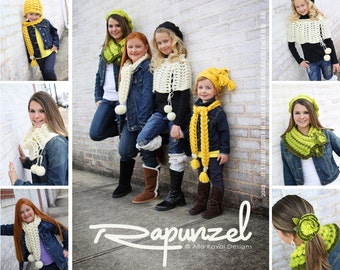 8 KNIT DESIGNS PATTERN Rapunzel Hand Knitted Accessories eBook/ Knit Pattern in Pdf Instant Download
