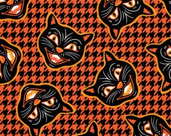 Vintage Halloween Black Cats fabric  - by mariafaithgarcia - Cotton/ Polyester/ Jersey/ Canvas/ Digital Printed