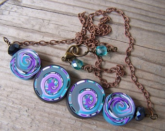 Polymer Clay Necklace Purple Swirls Brass Chain